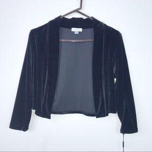 Calvin Klein Black Velvet Open-Style Cardigan